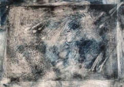 sue blue solar collagraph